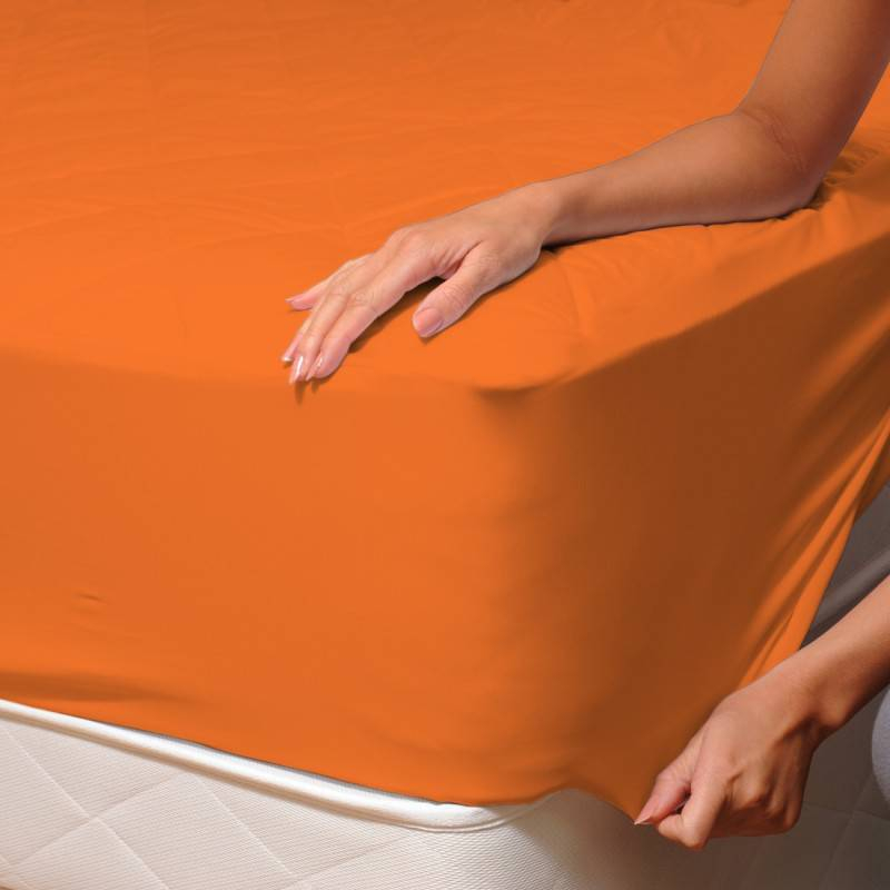 Draps Housse Polycoton Mytex 180X200 Cm Dh180Pcdy07 - Orange